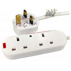 2 Way Mains Power Strip 10m Cable Surge Protected