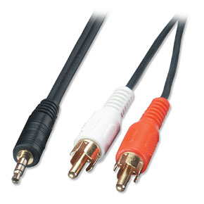 1m Audio Cable - 3.5mm Stereo Jack Male to 2 x Phono Male Premium