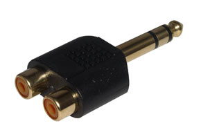 6.3mm Stereo Jack to 2 x RCA Phono Female Adapter