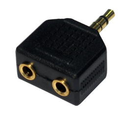 3.5mm Stereo plug to twin 3.5mm stereo socket Adapter