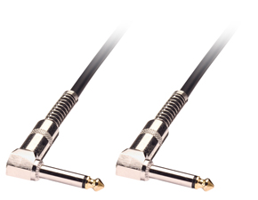 0.5m Guitar Lead - 1 4 Inch Right Angled Jack to 1 4 Inch Right Angled Jack Black