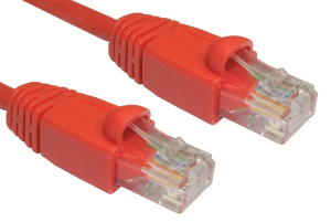 1m Snagless CAT5e Patch Cable Red 24 AWG