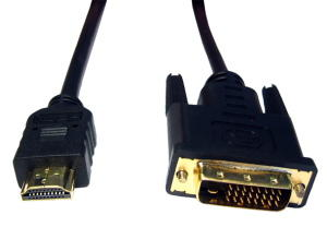 2.5m Gold HDMI A-Male DVI D Male