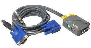 2-Port PS/2 KVM Switch with 2x USB Moulded Leads