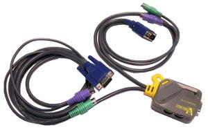 2-Port micro KVM with attached cables