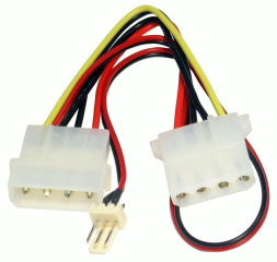 15cm 4-Pin Molex M-F +12V Fan Power Cable